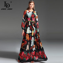 High Quality New 2017 Fashion Runway Maxi Dress Women's Long Sleeve Vintage Animal Dog Rose Applique Embroidery Print Long Dress(China)