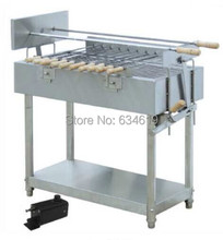 Top quality stainless steell bbq spinning charcoal grill, rotary skewers barbecue charcoal, motor rotary charcoal bbq grilles(China)