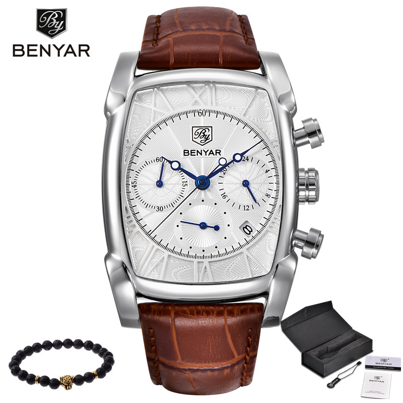 BENYAR Sports Military Men Watches 2017 Top Luxury Brand Man Chronograph Quartz-watch Leather Army Male Clock Relogio Masculino<br>