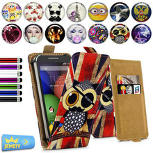 Leather Phone Case For Motorola artix 2/ artix 4g /driod razr maxx Cover, Girl Printed Universal Stand Flip Case Case Small size(China)