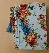 Freeshipping Retro handmade line cloth cloth notebook Chinese wind garden series notebook A5 section moonlight blue peony