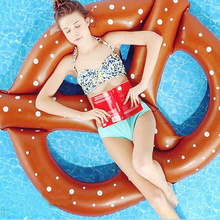 Adult Kids Pretzel Swimming Pool Floats Air Mattress Inflatable Circle Ring Buoy Floating Island Water Boat Toy Summer Party Fun