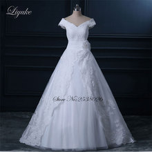 Buy Liyuke 3D Flowers A-line Wedding Dress Natural Waistline Appliques Shoulder Court Train Bride Dresses for $165.20 in AliExpress store