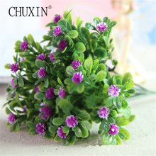 Vivid Cute artificial Miraflor flower green plant silk flower 6 branch/bouquet without vase mini grass home decoration(China)