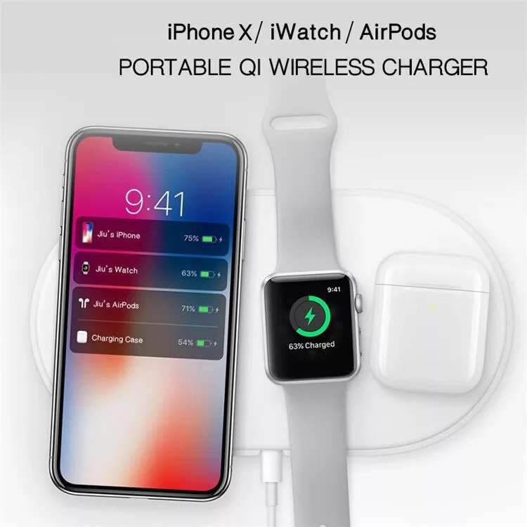 3 in 1 QI Wireless Charger For iPhone X For iWatch 1 2 3 Fast Charger Pad For Samsung Note8 S8Plus S7Edge S9 Charger for AirPods 1