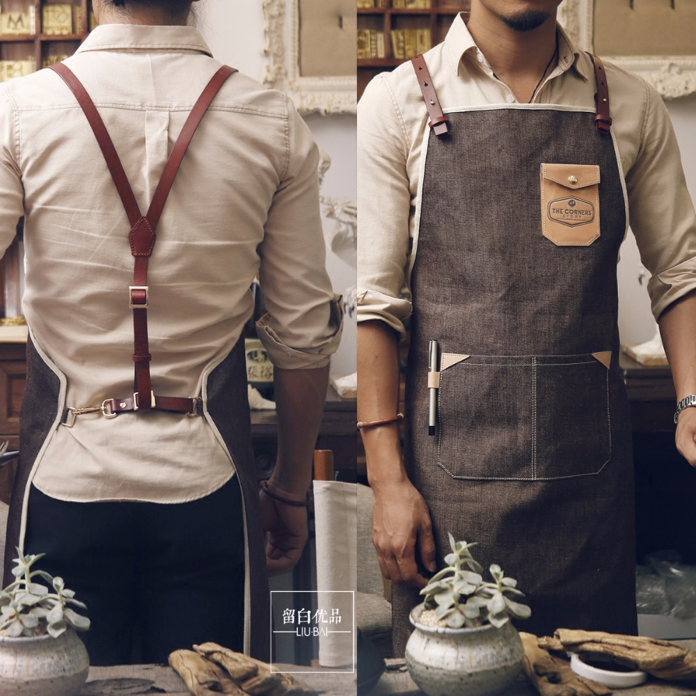 Baru Denim Katun Memasak Baking Apron Lucu Sexy Dengan Kantong Celemek Bahan Jean Cafe Restaurant Pria Dan Wanita Kulit Tali Kerja