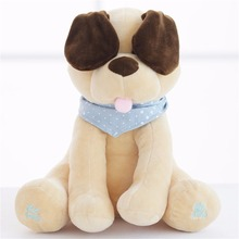 30cm Electric Plush Soft Dog Toy Animal Stuffed Doll Play Hide Peek Cute Dog Baby Antistress Toys With Music For Children Gift(China)