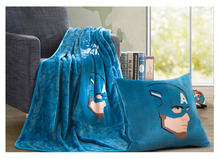 The Avengers Captain America Iron Man Blue/Red Plush Fleece Throw Pillow Blanket Cosplay