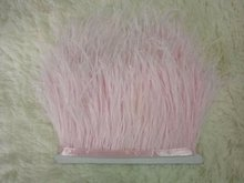 Wholesale 10Yards/lot from Factory Strip Cheap  light pink Ostrich Feather Trim 10-15cm height Ostrich feather fringes 014008012