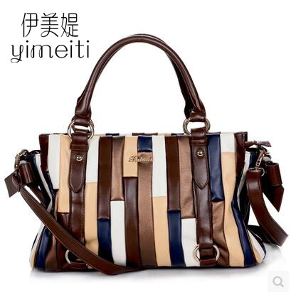 Fashion Women Leather Handbags Colorful Patchwork Shoulder bag Ladys Tote 2017 Women messenger bags sac a main<br><br>Aliexpress