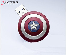 JASTER Super Captain America Shield usb flash drive pen drives 64gb usb 2.0 usb flash pendrive memory stick usb flash