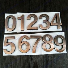 50mm 0123456789 Modern bronze Plaque Number House Hotel Door Address Digits Sticker Plate Sign(China)
