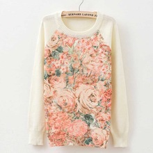 Rose garden owl bird print women sweaters and pullover 2015 Autumn winter Harajuku fashion Brand Knitwear sweater coat Plus Size