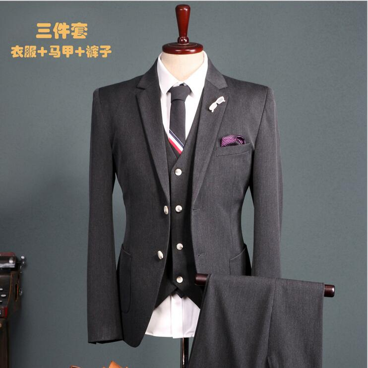 real picture factory-direct-clothing silm fit dark gray Groom Tuxedos Business Dress dinner party Suit Wedding Men Suits 3 piece