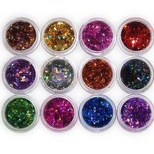 Hot Sell Good Quality12 Colors Nail Art Rhombus Glitter Shape Sequins Powder Decoration Tips DIY