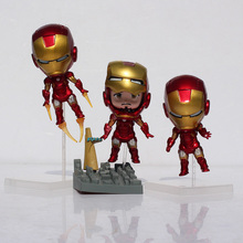 The Avengers Cute Q Iron Man Toy Figure Mark 7 Tony Stark Set  PVC Action Figures Collection Model Toys Nendoroid Free Shipping