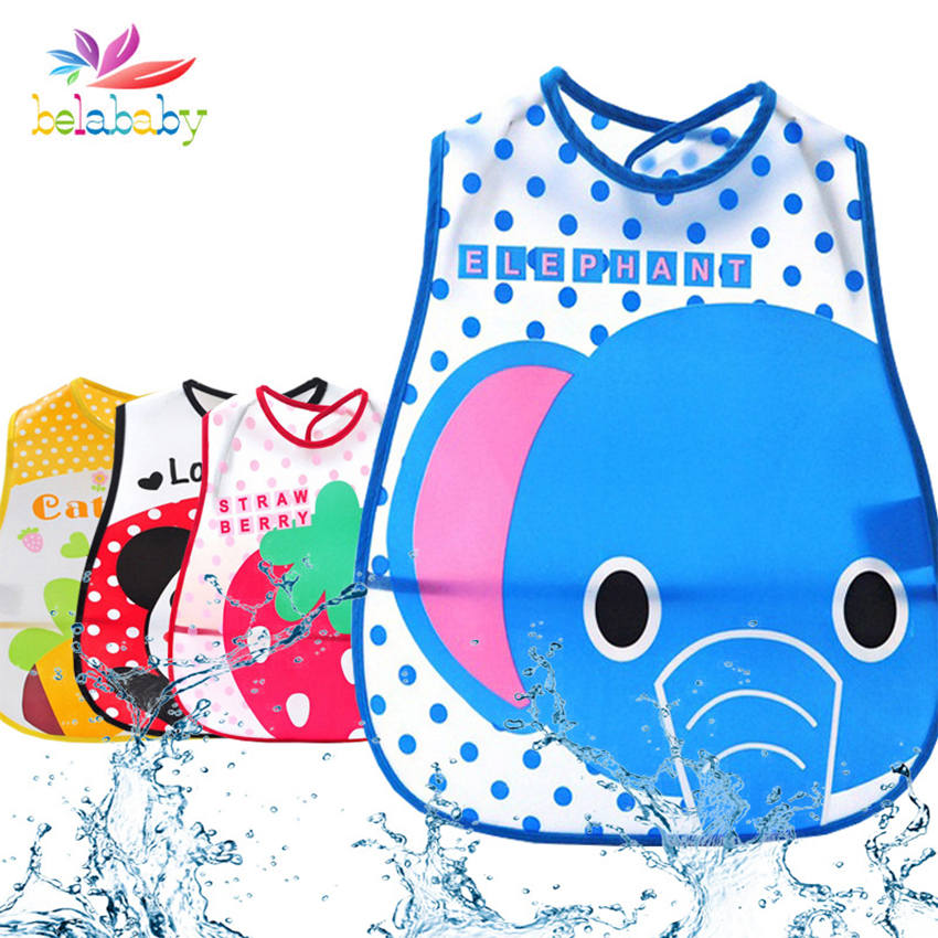 Adjustable Waterproof Cartoon Animals Baby Roll Bibs Burp Toddler Infant Washable Apron Kids Feeding Eating Smock Saliva Towel