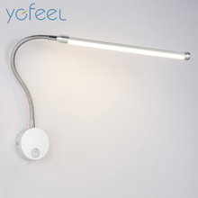 [YGFEEL] 6W LED Wall Lamps With Knob Switch Modern Bedroom Bedside Reading Lighting 360 Degree Angle Adjustable AC90-260V