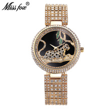 Miss Fox Luxury Watch Women Rhinestone Waterproof Bu Relogio Feminino Dourado Leopard Stainless Steel Full Diamond Horloge Dames(China)