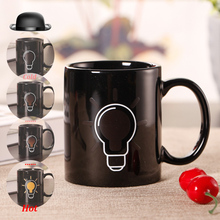 Office Color Changing Coffee Mug Creative Lighting Bulb Ceramic Milk Juice Water Drinking Cup Mugs Unique Gifts(China)