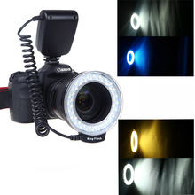 RF-550D Macro 48 pieces LED Ring Left Flash and Right Flash Light for Canon Nikon Pentax Olympus Panasonic DSLR