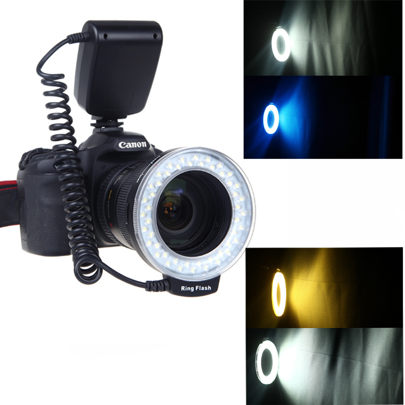 RF-550D Macro 48 pieces LED Ring Left Flash and Right Flash Light for Canon Nikon Pentax Olympus Panasonic DSLR<br><br>Aliexpress