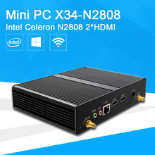 Mini PC Desktop Intel Celeron N2808 Dual-cores Office Computer HTPC 2*HDMI 6*USB HD Graphics Zero Noise Windows 10