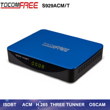 2017 New arrival satellite receptor Tocomfree S929ACM/T with three tunners work with DVB-S2 TWIN+ISDB/T for south America