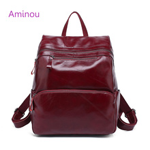 Aminou Brand Women Backpack 2017 Genuine Leather School Bags For Girl Mochila Feminina Laptop Bookbag Travel Backpacks sac a dos(China)