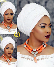 Fashion Women Coral African Beads Jewelry Sets Nigerian Wedding Party Costume Jewellery Set QW1232