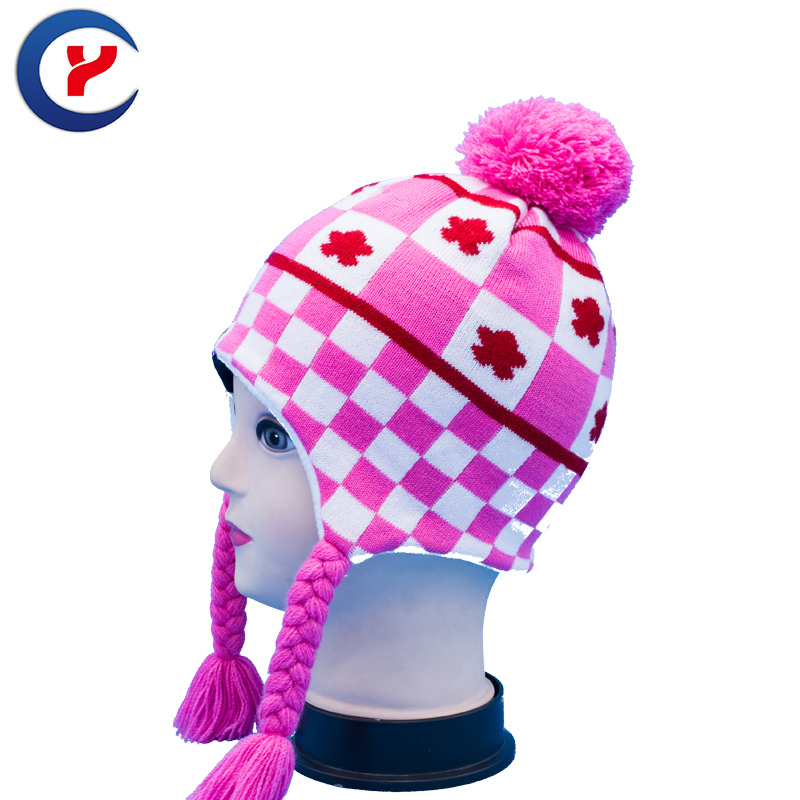 2017 Winter Woman Knitted Cartoon hat ear Cap Outdoor Extension Braids Cute Knitted Hat With Pompons Skullies Beanies cap #x13Одежда и ак�е��уары<br><br><br>Aliexpress