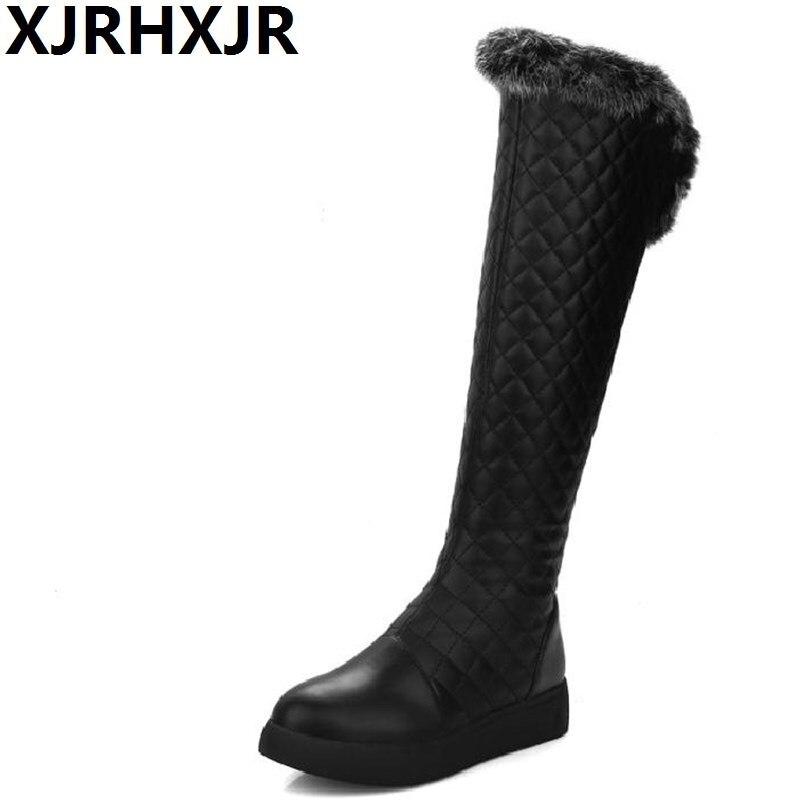 XJRHXJR Women Snow Boots 2018 Winter Thigh High Over the Knee Zip Flat Heel Platform Fur Long Plush Russia Warm Footwears<br>