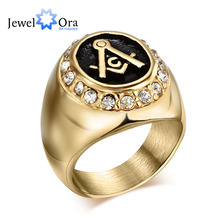 Hot Punk Titanium Steel Free Mason Ring For Men Classic Gold Color Round Party Ring Free Shipping  Buy A Gift(JewelOra RI102146)