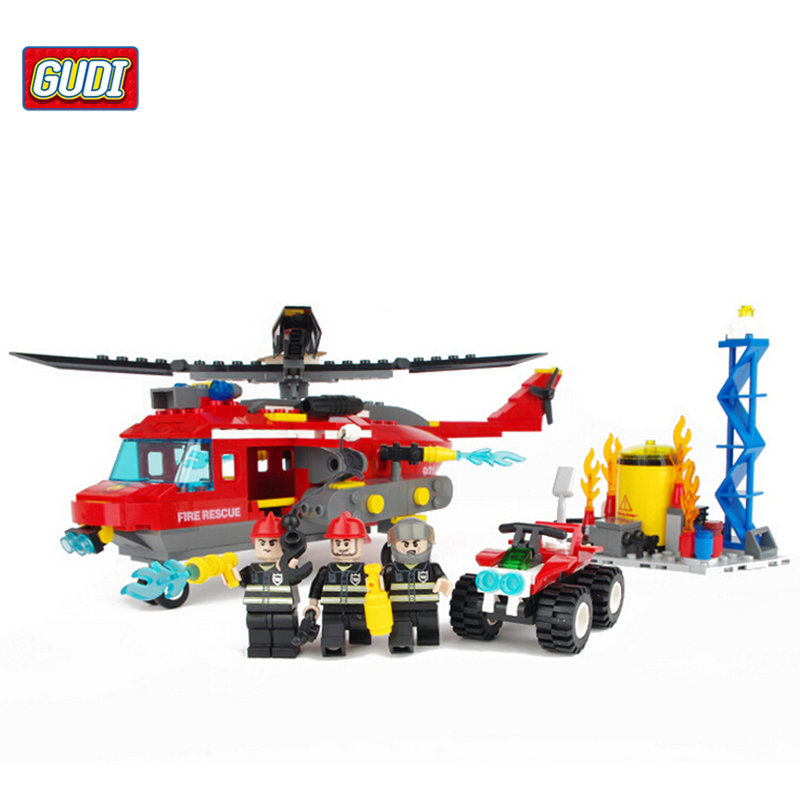 GUDI Fire Rescue Helicopters Building Blocks Compatible with  Helicopter Blocks Toys Children Boys Education BlocksToys 9214<br><br>Aliexpress