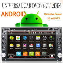 Universal 2 din Android Car DVD player GPS+Wifi+Bluetooth+Radio+1.2GB CPU+DDR3+Capacitive Touch Screen+3G+car pc+aduio