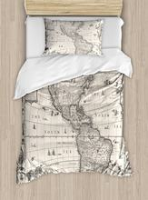 World map bedding promotion shop for promotional world map bedding world map duvet cover set antique map america in 1600s world in medieval time ancient era in retro style decor 4pcs bedding set gumiabroncs Gallery