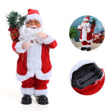 Christmas Santa Claus with Gift Bags Toys Dance with Sound Ornaments Children Lovely Doll Best Xmas Gift for Kids Friends