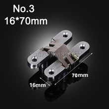 1PCS Hidden Hinges Size 16x70mm Bearing 20KG Invisible Concealed Cross Door Hinge Stainless Steel Hinge For Folding Door KF1060(China)