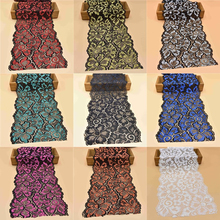 1Yard high quality elastic lace ribbon 18cm width cotton lace Trim embroidered nigerian african lace fabric sewing Wedding dress