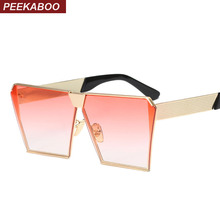 Peekaboo Fashion luxury square sunglasses women brand designer celebrity metal UNISEX mens oversized sunglasses mirror lens Cool
