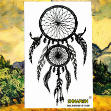 Indian Feather Ring Temporary Tattoo Body Art Sleeve Arm Flash Tattoo Stickers 12*20 painless Henna selfie Tatoo tattoo stickers(China)