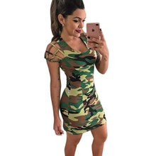 Mini dresses summer sexy club wear 2017 vintage camouflage print fabric slim casual dress for women work office clothes L30