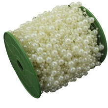 60 Meters Fishing Line Artificial Pearls Beads Chain Garland Flowers Wedding Party Decoration Products Supply Beige/White/Pink(China)
