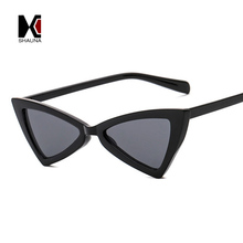 New Arrival Metal Hinge Women Butterfly Cat Eye Sunglasses Fashion Triangle Men Yellow Lens Glasses UV400(China)