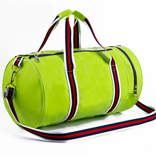 2017 New Unisex Sports Bag Soft PU Leather Women Fitness Bag Waterproof Large Cylinder Mens Training Bag Seven Colors