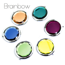 Brainbow 1pc Crystal Makeup Mirror Portable Round Folded Compact Mirror Making Up Espelho De Bolso For Personalized Wedding Gift(China)