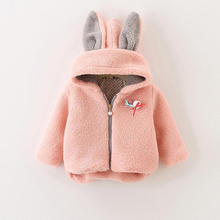 2-10 Years Girls Autumn Winter Coat Cute Rabbit Ear Hooded Childrens Outerwear Thickening Wool Kids Jackets with Brooch