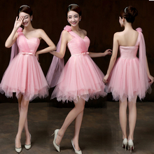 Sweet Memory PINK one shoulder Bridesmaid dresses bride wedding party Bridesmaid  dress SW0013(China) 5ae3a4dd6c2d