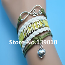 Infinity Love Packers Heart Team Bracelet Grean White Yellow Leather Rope Cuff Charm Customize Friendship Wristband Brand Bangle(China)
