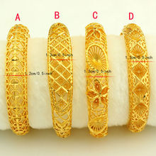 New Arrival Dubai Gold Bangles Women Men 24k Gold Color Bangles&Bracelet African/Ethiopian/Arab/Kenya/Middle East Wedding Gifts